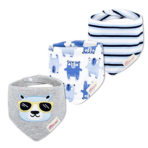 JN&LULU 3-Pack Newborn Baby Bibs Baby Bandana Drool Bibs for Drooling and Teething,Organic Cotton Bibs for Baby Shower Gifts (Gray Sunglasses Bear)