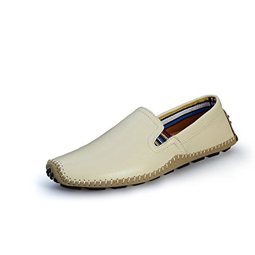 Go Tour Mens Casual Handmade Driving Shoes Slip On Loafer White 44 UPzcx