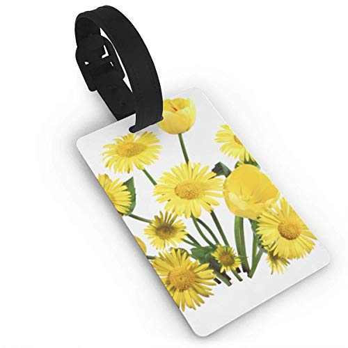 BJtiananmen Yellow Daisy Personalized Customization Luggage Tags is PVC Material, Durable Very Suitable for Men and Women in Luggage ()