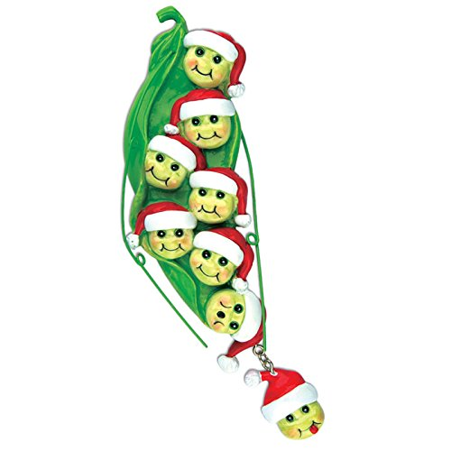 (Grantwood Technology Personalized Christmas Ornaments Family Series-Pea POD Family W/8 PEAS)