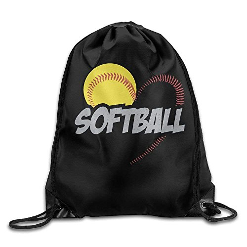 Love Softball Print Drawstring Backpack Rucksack Shoulder Bags Gym Bag Sport Bag ()