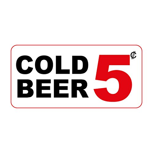 Cold Beer 5C Custom Retro Vintage Style LABEL DECAL STICKER Sticks to Any Surface - 8 In X 12 In With Holes