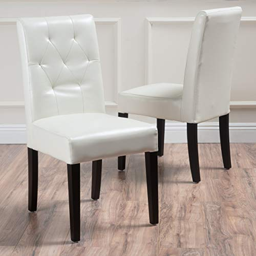 Great Deal Furniture Waldon Ivory Leather Dining Chairs w/Tu