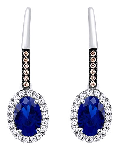 Oval Cut Simulated Blue Sapphire With Brown Natural Diamond Halo Dangle Earrings In 10K Solid White Gold