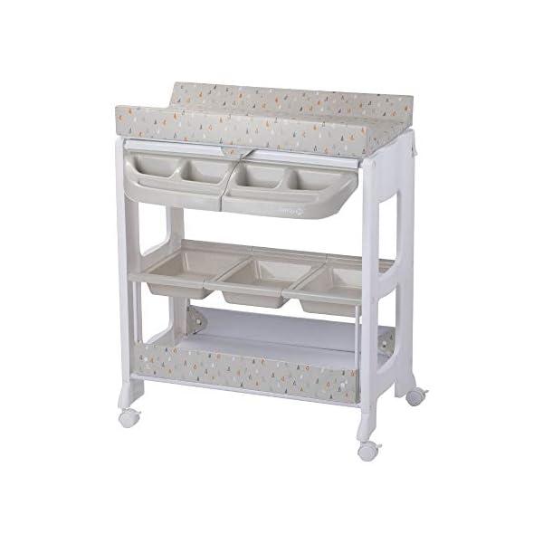 Safety 1st Dolphy Fasciatoio con vaschetta per bagnetto neonato, con materassino imbottito incluso, colore warm gray 1