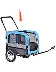 PawHut Dog Bike Trailer 2-in-1 Pet Stroller Cart Bicycle Wagon Cargo Carrier Attachment for Travel with 360 Swivel Wheel, Hitch, Suspension, Safety Flag