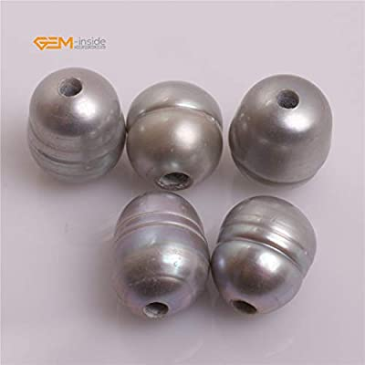 Gem-inside 10-11MM Black Cultured Freshwater Pearl 2MM Big Hole Loose Beads for Jewelry Making 10pcs