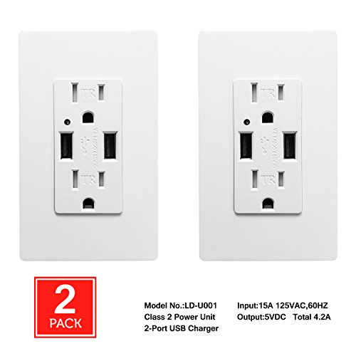 [2 Pack] SECKATECH 4.2A Smart High Speed Dual USB Charger Wall Outlet, 15A Tamper Resistant Outlet, Each Charging Receptacle with 4 Free Wall Plates-White (UL Listed)