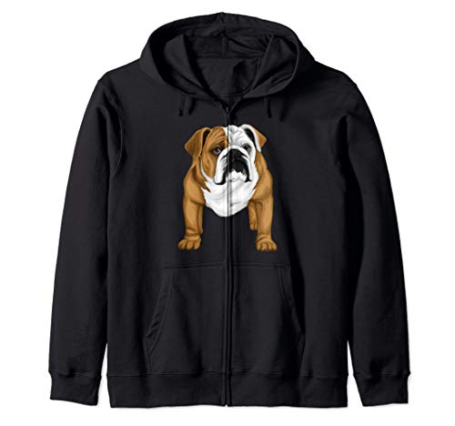 Cool Bulldog Dog Face Graphic Zip Hoodie ()