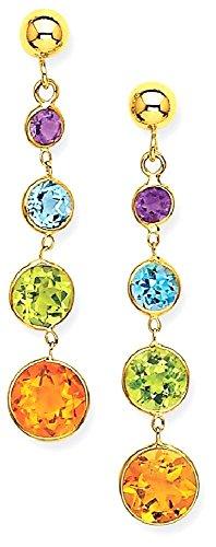 w Gold Muti Gemstone Drop Dangle Chandelier Post Stud Earrings Fine Jewelry Gift Set For Women Heart (14k Muti Gemstone)