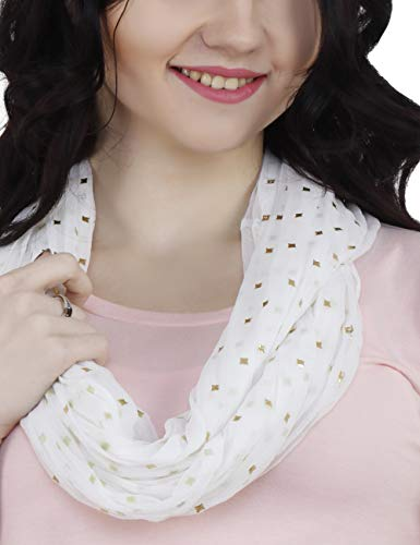 TC Solid Color Soft Lightweight Chiffon Silk Feel Luxury Infinity Scarf India (White Star) ()