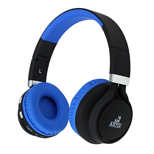 ARTIX BT5 Bluetooth Headphones On-Ear Wireless Earphones, Lightweight, Foldable, Adjustable Headset w/Built in Microphone, 3.5mm Cable for Wired Use for Work, Travel, Sport Kids Teen Adult Black/Blue