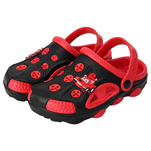 Fashion-zone Toddlers Cartoon Slides Sandals-Lightweight Garden Clogs Beach Sandals for Toddler Boys Girls (9 M US Toddler, Black)