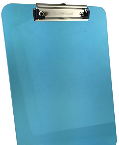 Trade Quest Plastic Clipboard Transparent Color Letter Size Low Profile Clip (Pack of 6) (Blue) Photo #7