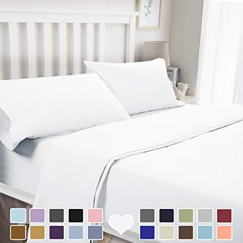BYSURE 4 Piece Luxury Bed Sheet Set (Queen,White) - Ultra Soft 1800 Thread Count Double Brushed Microfiber, Deep Pockets, Wrinkle & Fade Resistant Cooling Bedding (Sheet Sets Queen Clearance)
