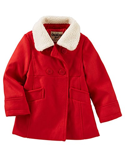 Osh Kosh B'Gosh Little Girls Toddler Double Breasted Faux Wool Outerwear Coat, Red 4T