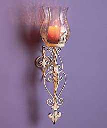 1 X White Metal and Glass Hurricane Sconce