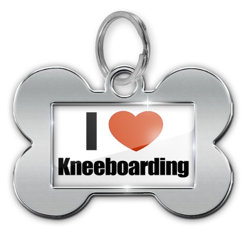 "Dog Bone Pet ID Tag ""I Love kneeboarding"" - Neonblond"