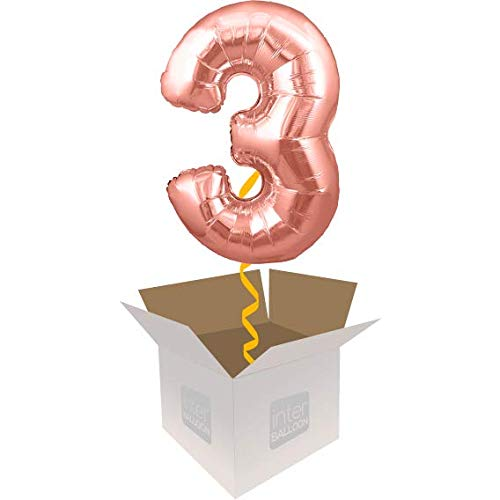 Single Balloon InterBalloon Helium Inflated 34  Number 3 pink gold Megaloon Balloon Delivered in a Box with 4 Extra Balloons of your choice