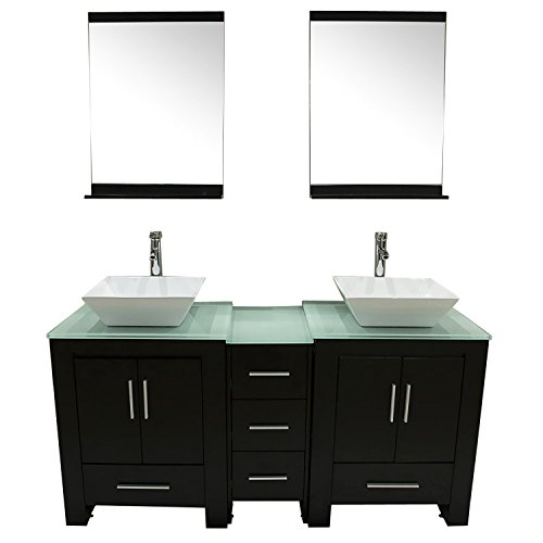 Walcut Luxury 60'' Modern Double Ceramic Sink Solid Wood Bathroom Vanity Cabinet With Mirror And Tempered Glass Table Board by WALCUT (Image #8)