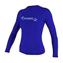 O'Neill Wetsuits UV Sun Protection Womens Basic Skins Long Sleeve Crew Sun Shirt Rash Guard, Tahitian Blue, Small