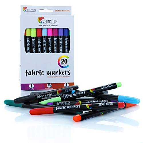 20 Zenacolor Textile and Cloth Markers - Non-Toxic, Indelible and Permanent...