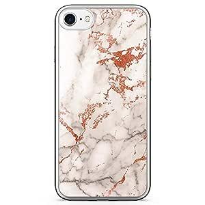 iPhone 8 Transparent Edge Phone case Orange Marble Phone Case Elegant Orange Gold Marble iPhone 8 Cover with Transparent Bumper