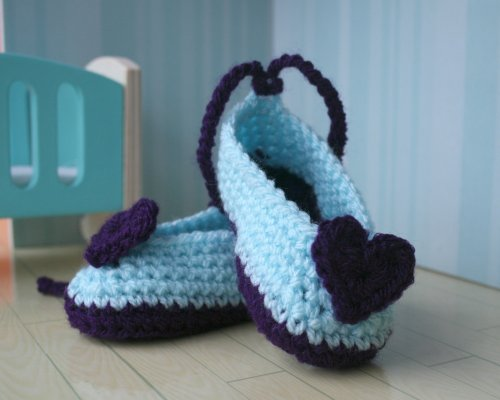 Crochet pattern heart baby booties (40) (Crochet booties Book 1) - Valentine's Day Crochet - Valentine's Day Crochet