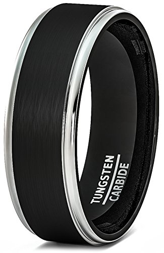 8mm Black Tungsten Ring Brushed Silver Step Edge Comfort Fit (13) Brushed Silver Step