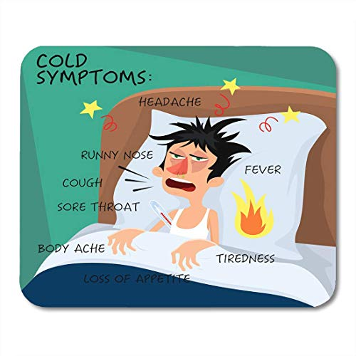 BGLKCS Cold Symptoms in Flat with Man Who Feel Feverish Chills Cough Sore Throat Cartoon Character Influenza Flu Mouse Pad 8.6 X 7.1 in