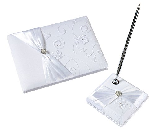 Lillian Rose White Lace Guest book and Pen Set GB385W