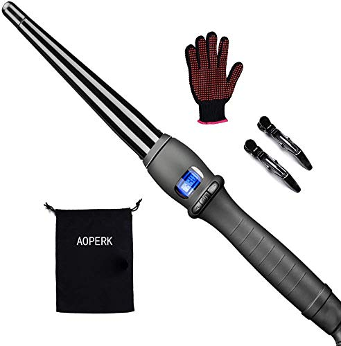 AOPERK Curling Wand - Tapered Clipless Curling Tong with ½ to 1 Inch Tourmaline Barrel - Professional Salon Hair Curler, Cool Tip LCD Display Auto Shut Off Dual Voltage Storage Pouch (13-25)
