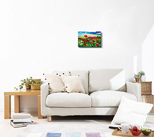 Oil Painting of Opium Poppy Field in Front of Beautiful Sunset Impressionism Home Deoration Wall Decor