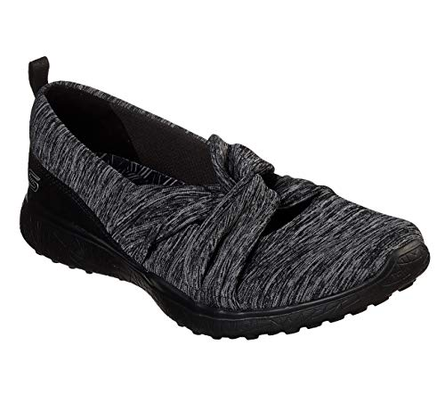 (Skechers Microburst Knot Concerned Womens Mary Jane Sneakers Black 6.5)