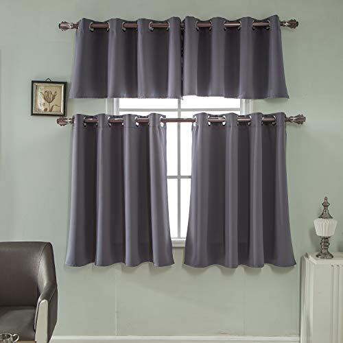 (Mai Kuu Dark Grey Room Darkening Valances - 29W x 18L Energy Efficient Kitchen Grommet Top Curtain Panels Short Window Set Two)