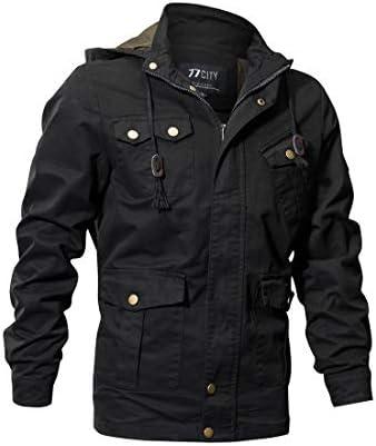 GOMY ミリタリージャケット メンズ ジャケット ブルゾン アウター フライトジャケット 綿 秋 春 冬 (アーミーグリーン, XX-Large)