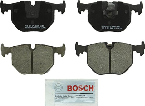 Bosch BC683 QuietCast Premium Ceramic Disc Brake Pad Set For Select BMW 330Ci, 330i, 330xi, 525i, 525xi, 740i, 740iL, 750iL, M3, M5, X3, X5, Z4, Z8; Land Rover Range Rover; Rear