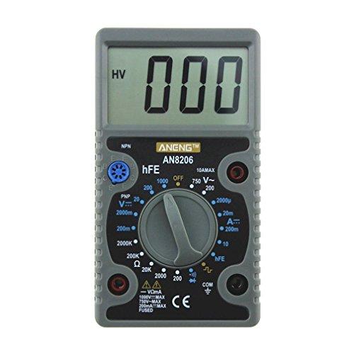 Dressffe AN8206 Digital Multimeter Large Displays Amps Output Voltage Ohm Probe ()