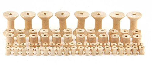 Hygloss Products Wooden Spools for Arts and Crafts - Splinter Free - Assorted Sizes, 72 Pieces ()