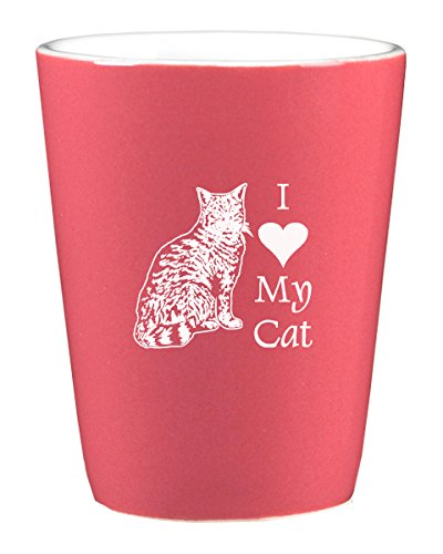 LXG, Inc. 1.75oz Ceramic Shot Glass- I love my Cat-Pink