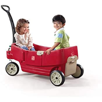 Step2 All Around Wagon for Toddler - Durable Pull Along Car with Folding Handle, Storage and Cup Holders