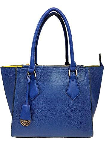 Ferrara Leather Designer Handbags Tote Satchel Shoulder Bag Purse for Women (Blue) (Blue Leather Handbags)