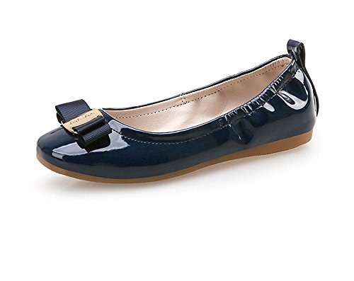 Always Pretty Girl's Flexible Slip-On Dress Ballet Flats Dress Shoes Princess Shoes (Little Kids/Little Girls) Navy 4 M Big (Girls Leather Ballet Flats)