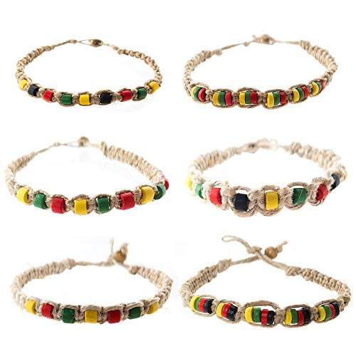 (FROG SAC 6 PCS Hemp Bracelet Set for Men 6 PCs - Rasta Bracelets Pack with Jamaican Color Beads - Handmade - Braided with Natural Rope - Mens Reggae Theme Surfer Summer Jewelry )