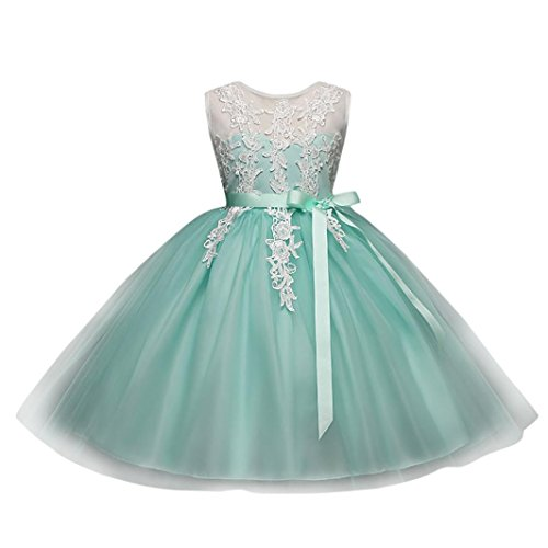 Forthery Toddler Girls Tutu Dress Floral Lace Princess Mesh Pageant Party Dress With Panty-Belted (5Years, Mint Green) Beaded Belted Skirt
