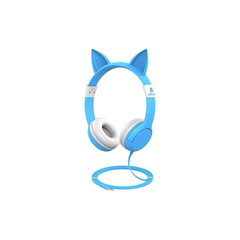 iClever BoostCare Wired Kids Headphones Cat-Inspired Over The Ear Headsets with 85 Volume Limited, Food Grade Silicon Material(HS07), Blue