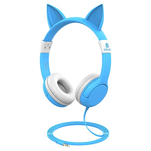 iClever BoostCare Wired Kids Headphones Cat-Inspired Over The Ear Headsets with 85 Volume Limited, Food Grade Silicon Material(HS07), Blue ()