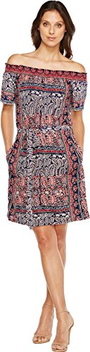 Boho-Chic Vacation & Fall Looks - Standard & Plus Size Styless - Lucky Brand Women's Off Shoulder Knit Dress Navy Multi Dress
