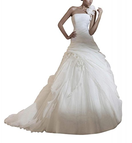 Schulter Blume Pick GEORGE mit up BRIDE Elfenbein auf der Elegante Handmade Ballkleid vwgqT