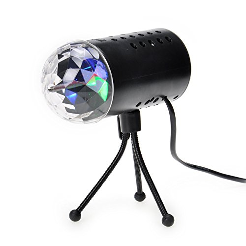 TSSS LED RGB Crystal Ball Sound Active Stage Light for Children Birthday Party Wedding Lighting Show Celebrations ()